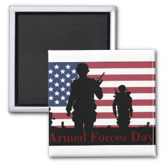 Armed Forces Day American Flag with Soldiers Fridge Magnet