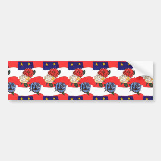 Armed Forces Red White & Blue Flag/Rose Sticker Bumper Sticker