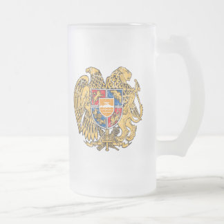 Armenia Coat Of Arms Frosted Glass Beer Mug