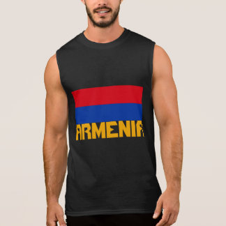 Armenia Flag Orange Stripe Text Sleeveless Shirt