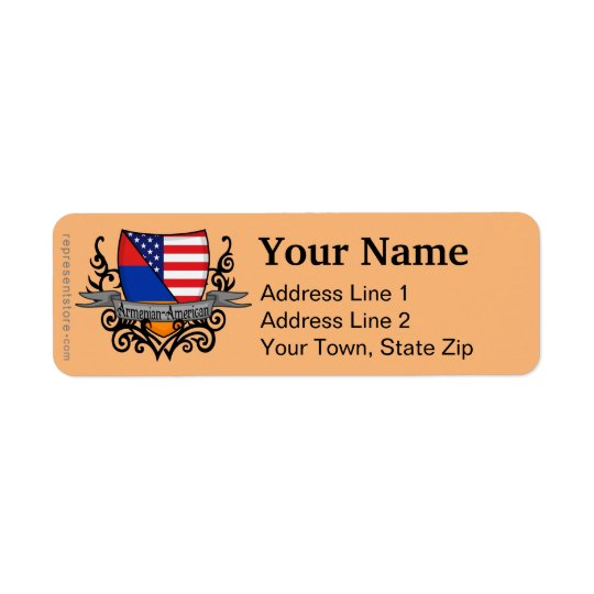 Armenian-American Shield Flag Return Address Label