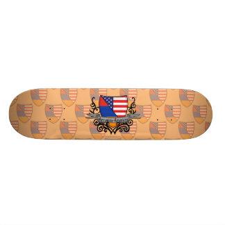 Armenian-American Shield Flag Skate Board
