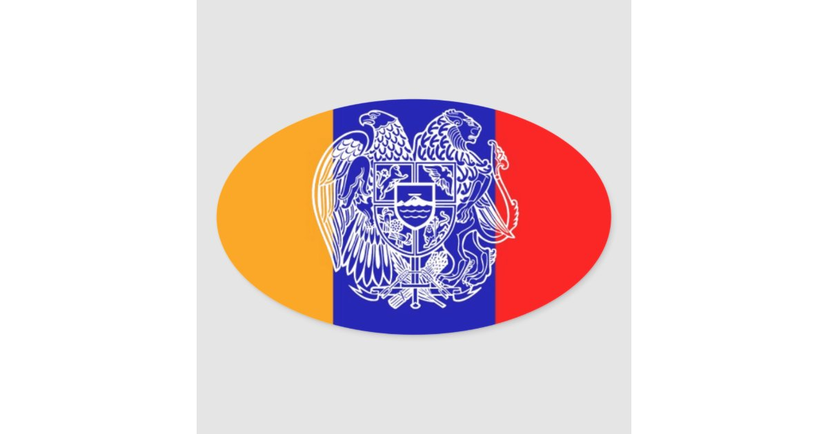 Armenian Flag & Coat of Arms Oval Sticker