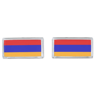 Armenian Flag Silver Finish Cufflinks