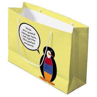 Armenian Flag Talking Penguin Large Gift Bag