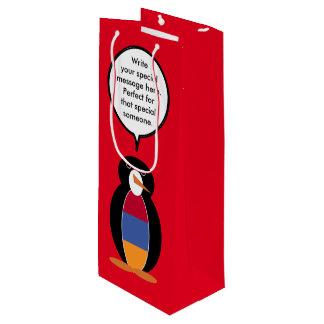 Armenian Flag Talking Penguin Wine Gift Bag