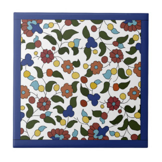 Armenian Floral Pattern  - Blue & White Small Square Tile