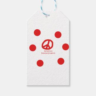 Armenian Language and Peace Symbol Design Gift Tags