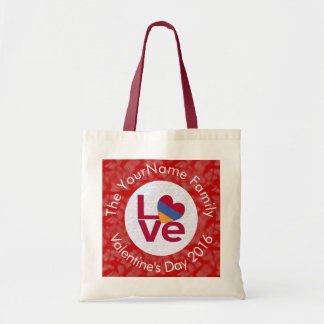 Armenian LOVE White on Red Tote Bag