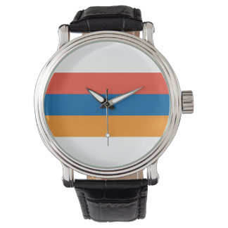 Armenian: Men's Vintage Black Leather Strap Watch