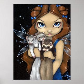 Armful of Ferrets ART PRINT fairy fantasy ferret