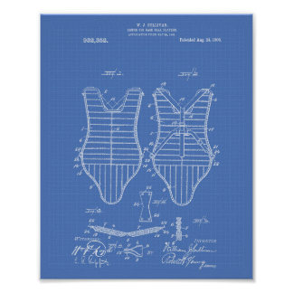 Armor Baseball Players 1909 Patent Art Blueprint Poster