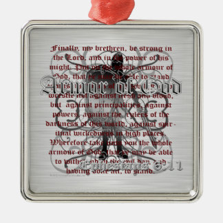 Armor of God Soldier Silver-Colored Square Decoration