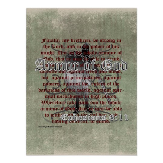 Armour of God, Ephesians 6:10-18, Christian Poster