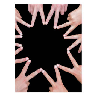 Arms of girls  hands making ten pointed star postcard