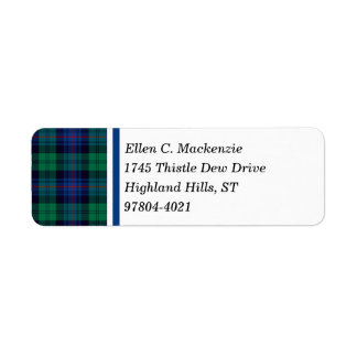 Armstrong Clan Royal Blue and Green Tartan Return Address Label