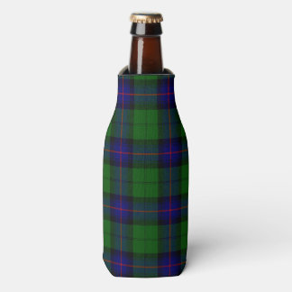 Armstrong clan tartan blue green plaid bottle cooler
