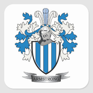 Armstrong Family Crest Coat of Arms Square Sticker