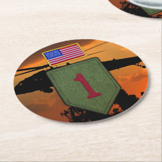 Army 1st ID infantry big red 1 veterans vets Round Paper Coaster