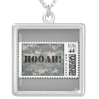 Army ACU Hooah Stamp Square Pendant Necklace