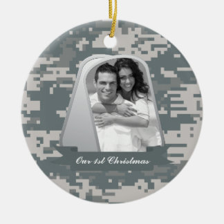 Army ACUs and Dog Tags Ceramic Ornament