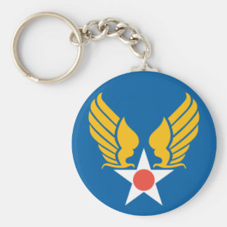 Army Air Corps Shield Basic Round Button Key Ring