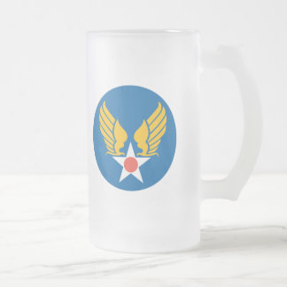 Army Air Corps Shield Frosted Glass Mug