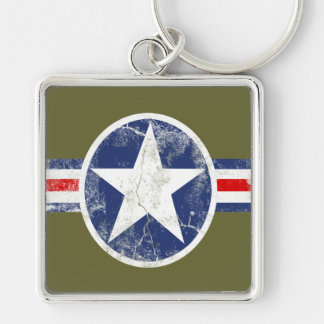 Army Air Corps Vintage Silver-Colored Square Key Ring