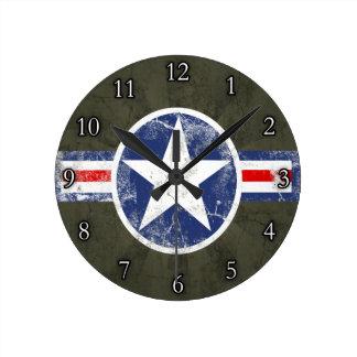Army Air Corps Vintage Star Patriotic Wall Clocks