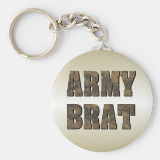 Army Brat in Camouflage Letters Military Basic Round Button Key Ring