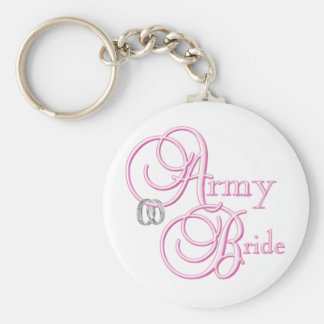 Army Bride Basic Round Button Key Ring