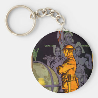 Army Builds MEN Basic Round Button Key Ring