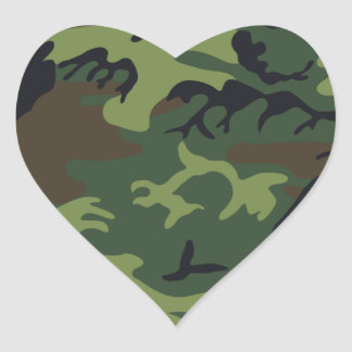 Army Camo Heart Sticker