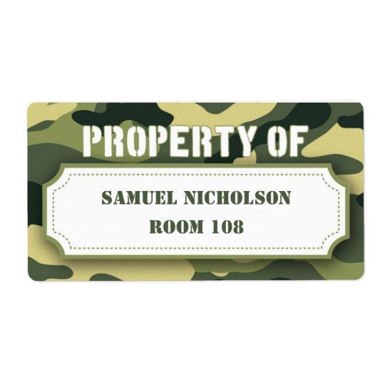 Army Camo Property ID school supply book