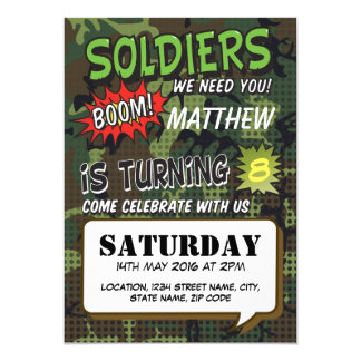 Army Camouflage Comic Pop Art Kids Birthday Card