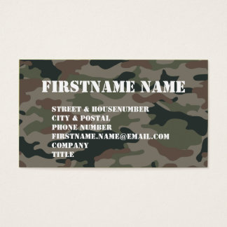 Army Camouflage Green Brown Soldier Business Card