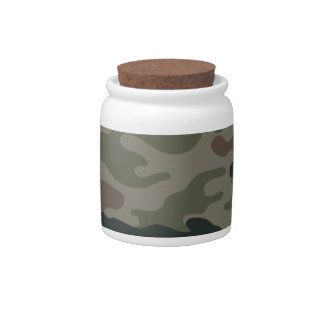Army Camouflage in Green and Brown Military Candy Dish