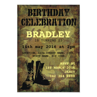 Army Camouflage Military Boots Kids Birthday 13 Cm X 18 Cm Invitation Card