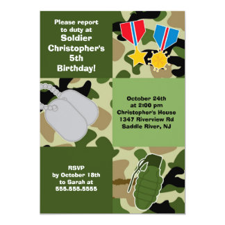 Army Camouflage Soldier Kids Birthday Party 13 Cm X 18 Cm Invitation Card