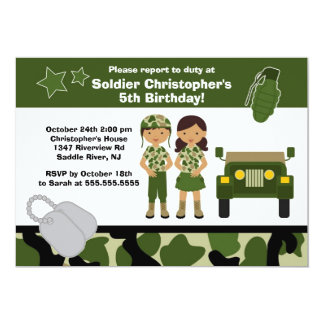 "Army Camouflage Soldier Kids Birthday Party 5"" X 7"" Invitation Card"