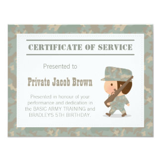 Army Certificate of Service Thank You Birthday 11 Cm X 14 Cm Invitation Card