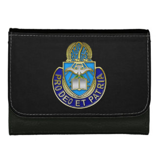Army Chaplain Corp Crest Black Medium Leather Wall Leather Wallet For Women