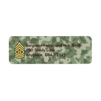 Army Cmd Sergeant Major Camo Address Label