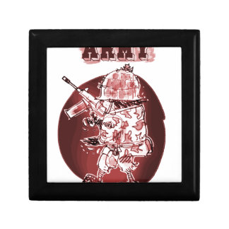 army eagle soldier posterize red small square gift box
