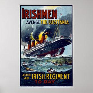 Army Enlistment WW1 poster - Avenge the Lusitania