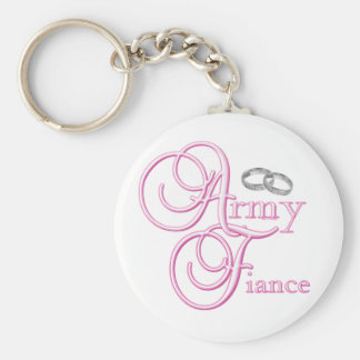 Army Fiance Basic Round Button Key Ring