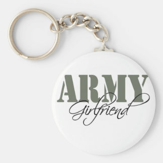 Army Girlfriend Basic Round Button Key Ring