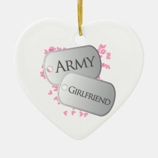 Army Girlfriend Double-Sided Heart Ceramic Christmas Ornament
