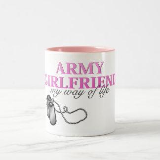 Army Girlfriend, my way of life Two-Tone Coffee Mug