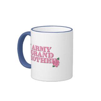 Army Grandmother Pink Roses Ringer Mug